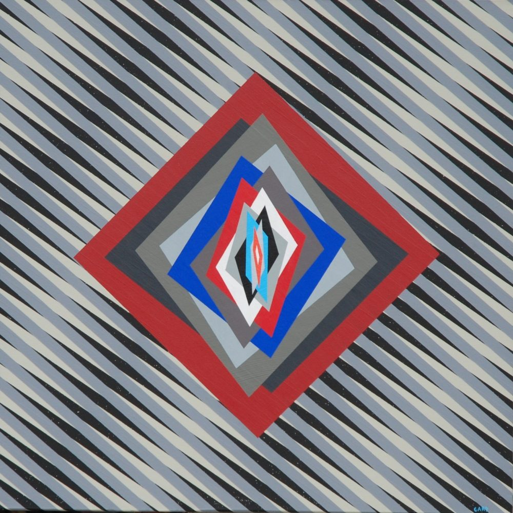 4)Chromatism and optical art 16-60-6, acrylic colours on canvas cm 60 x 60 x 4, 2016